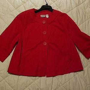 Chico's Red Button Up Thin Jacket Sz 1